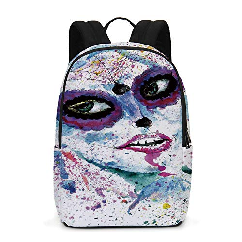 Girls Durable Backpack,Grunge Halloween Lady with Sugar Skull Make Up Creepy Dead Face Gothic Woman Artsy for School -