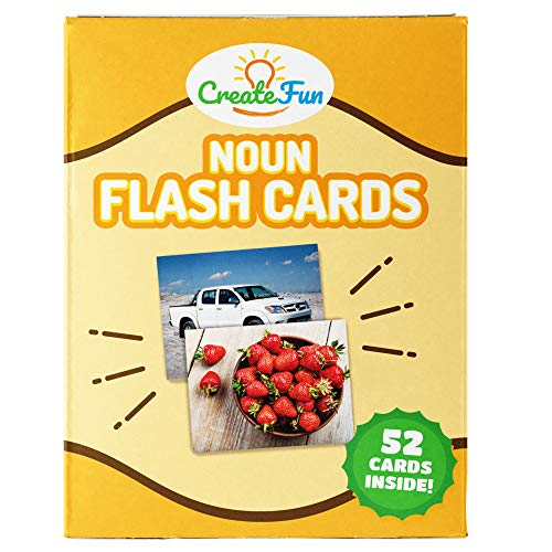 (CreateFun Noun Flash Cards | 50 Educational Vocabulary Builder Photo Cards | with 5 Learning Games for Toddlers, Preschool Teachers, Speech Therapy Materials and ESL Teaching)
