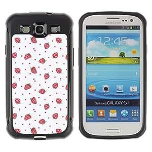 WAWU Funda Carcasa Bumper con Absorci??e Impactos y Anti-Ara??s Espalda Slim Rugged Armor -- strawberries pink red wallpaper art -- Samsung Galaxy S3 I9300