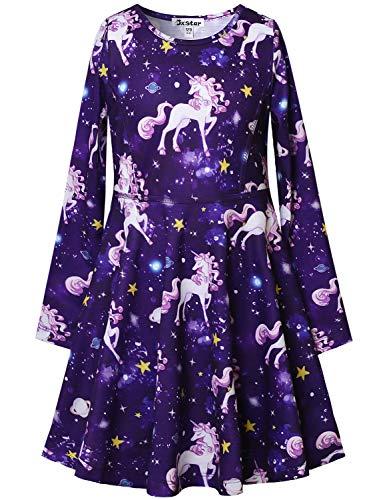 (Unicorn Dresses for Girls Long Sleeve 7-16 Gift Kids Starry Sky Cotton)