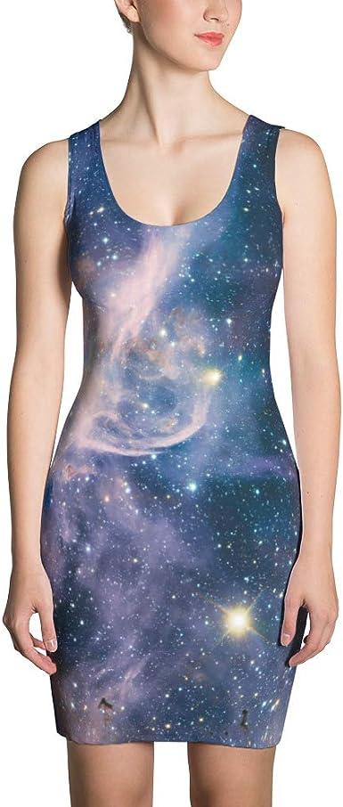 Solar System Space print Dress Galaxy Galaxy Dress Galaxy Print Dress Midi Dress Outer Space Dress Space Dress, Galaxy Space Dress