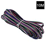 YOUKOYI 4 Color 32.8ft/10m RGB Extension Cable Wire Connector Cord Line for LED Strip 5050 3528, UL 1007, AWG 22#, 4 Pin