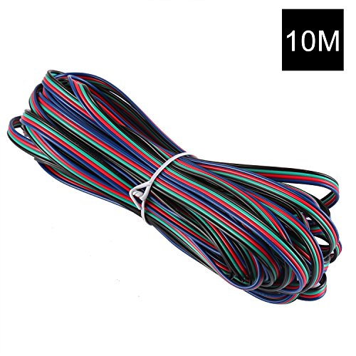 YOUKOYI 4 Color 32.8ft/10m RGB Extension Cable Wire Connector Cord Line for LED Strip 5050 3528, UL1007, 22 AWG, 4 Pin