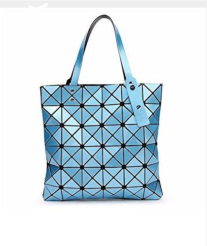 Bag Female Folded Geometric Plaid Bag Fashion Casual Tote Women Handbag Shoulder Bag Style Japan (Sky Blue Color) -