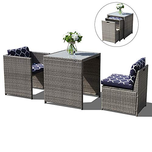 (OC Orange-Casual 3 Piece Outdoor Patio Furniture Set Cushioned Rattan Wicker Conversation Dining Bistro Chair and Table | Space Saving Design | Garden Lawn – Grey & Navy Blue)