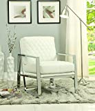 Coaster Home Furnishings 900623 Accent Chair, White/Chrome For Sale