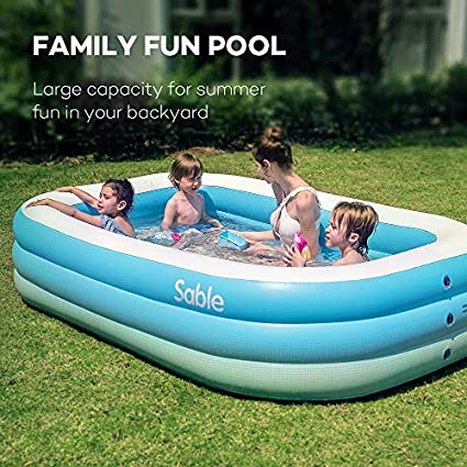 Sable Inflatable Pool, Family Swim Center Pool for Kids, Adults, Backyard,  Outdoor, 118\