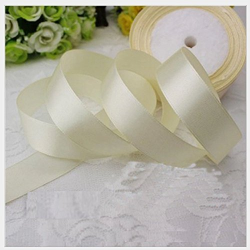 Double Color Craft Ribbon - HG-X @ Fashion Pastel Color Double Face Satin Ribbon Grosgrain Ribbon for Handcraft-25 Yards (Beige)