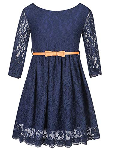 Girls Princess Dress Lace Flower Party Wedding Summer Dress Clothes, Navy, 3T-4T (3-4 Years)=Tag - Flower Girl Summer Dress
