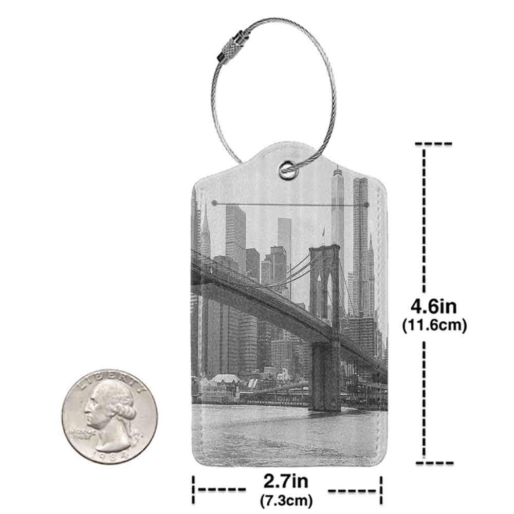 Modern luggage tag Apartment Decor Photo of the Brooklyn Bridge Over East River and Tall Buildings Skylines at the Back Suitable for children and adults Grey White W2.7 x L4.6