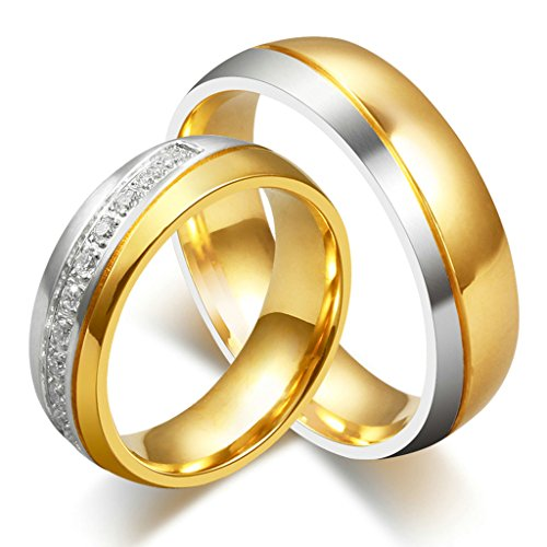 MoAndy 6MM 18K Gold Plated Women Men Design Promise Ring Wedding Bands for Him and Her Size ()