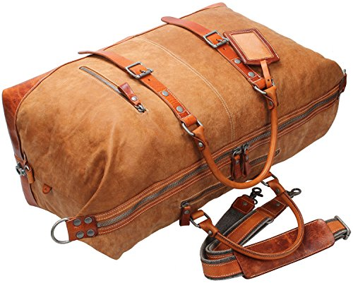 Iblue X-Large Durable Gym Tote Genuine Leather Overnight Travel Weekend Bag Garment 21in #C001 (XL, light brown) by iblue (Image #8)