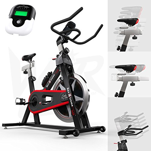 WeRSports Exercise Bike Aerobic Training Cycle Indoor Cycling Machine Cardio Workout - Heavy Duty Frame - Adjustable Handle Bar & Seat Heart Rate Sensors & 6-Function Monitor