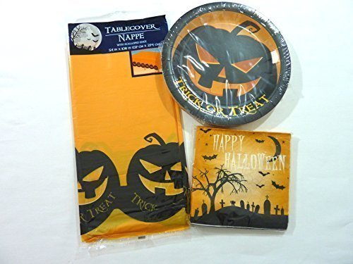 Halloween Theme Party Supply Set - Scary Pumpkin Table Cover, Plates and Napkins for 18 (People Halloween Party)