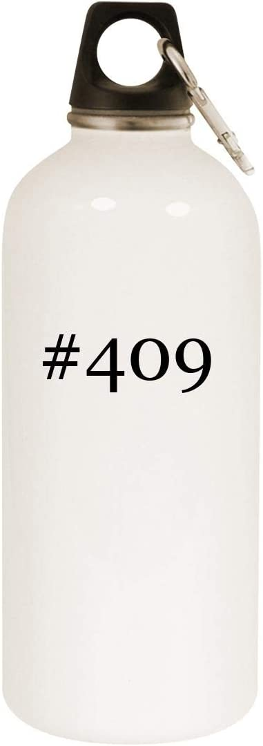 #409-20oz Hashtag Stainless Steel White Water Bottle with Carabiner, White 51cQ2B3Py6gL