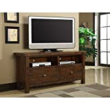 Emerald Home Pine Brown TV Console with Two Drawers and Open Shelving