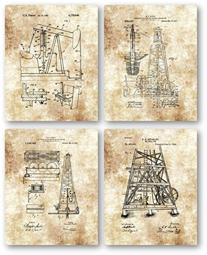 Oil Wells Drilling Rig Equipment Drawings Artwork - Set of 4 8 x 10 Unframed Patent Prints - Great Gift for Petroleum Industry Workers - Gas Station Decor