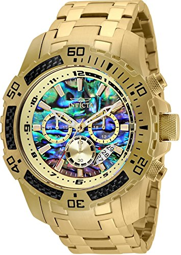 Invicta Men's 50mm Pro Diver Scuba Quartz Chronograph Carbon Fiber Bezel Abalone Dial Bracelet Watch -