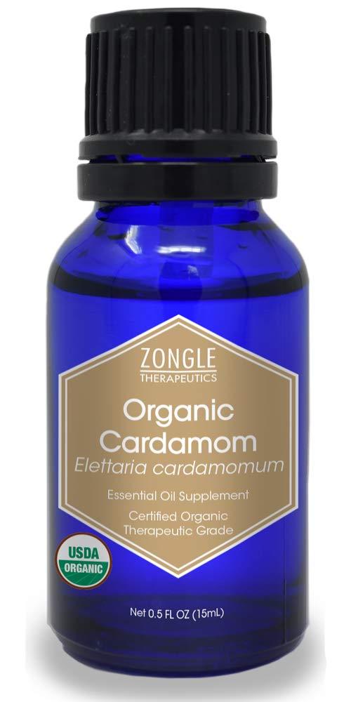 Zongle USDA Certified Organic Cardamom Oil, Safe To Ingest, Elettaria Cardamomum, 15 ML