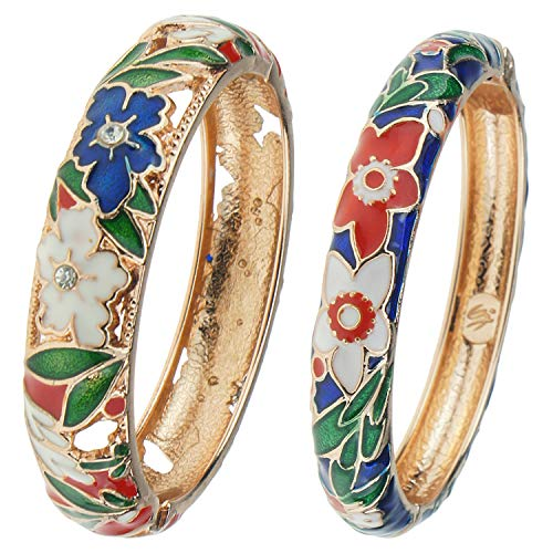 - UJOY Womens Multi-Colors Cloisonne Bracelet Gold Plated Floral Filigree Hollow Enameled Hinged Cuff Bangles Jewelry Gift 88A11 red Blue