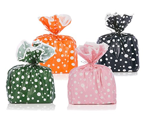 Pink Polka Dot Wastebasket - Reusable Polka Dot Plastic Gift Wrap Bags - Reuse as Pretty Trash Bags - Includes Pink, Orange, Green, and Navy - 20 Bags Total - Metallic Ties Included