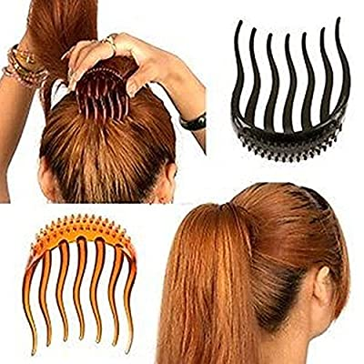 2Pc Elegant Magic BUMP IT UP Volume Inserts Hair Clip for Bun Maker Clip Donut ponytail Bumpits Bouffant Do Beehive Dish Styles Hair Comb Pads Base Foam Hair Maker Braid Ponytail Hairstyle Hairdisk Styling Design Beauty Tool Fashion Accessory