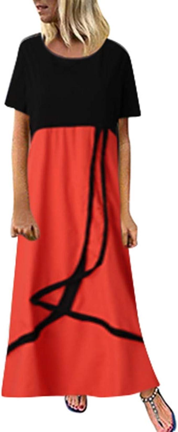 Amphia Damen Elegant Lang Maxikleid Abendkleid,Lose Größe