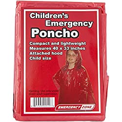 Children's Red Emergency Poncho, Weather Protection, Rain Gear, Emergency Zone (10 Pack)