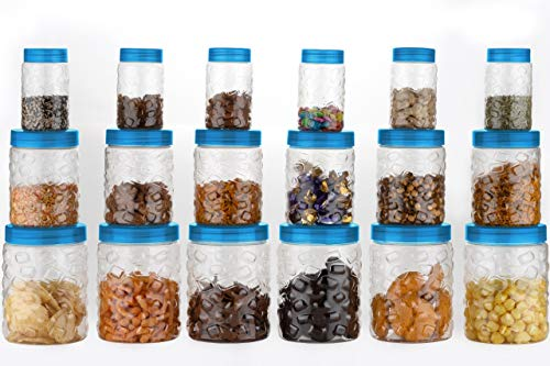 JD Brand Kitchen Storage & Containers – Good Grips 18-pcs Airtight Round Canister Set (Big 1200ml, Medium 600ml & Small 300ml Size) (18 Container) (Blue) Price & Reviews