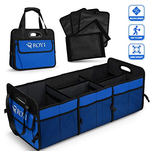 BOVN Cargo Storage, Collapsible Car Trunk Organizer with Toolbar 3 Anti-Slip Straps Car Trunk Storage Organizer No Bad Smell Compatible with SUV Car Truck Auto