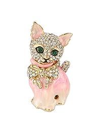 Ever Faith Plump 3D Cat Pet Austrian Crystal Enamel Brooch