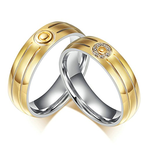 Tianyi Stainless Steel Gold Pltaed Two Groove Target Shape Wedding Band/Anniversary/Engagement/Promise/Couple Ring For Men Size 9