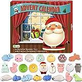D-FantiX Mochi Squishy Toys Advent Calendar 2019 Christmas Countdown Calendar 24Pcs Kawaii Squishies Animals Relief Stress Toys Unicorn Dinosaur Santas Squeeze Toy for Kids Adults