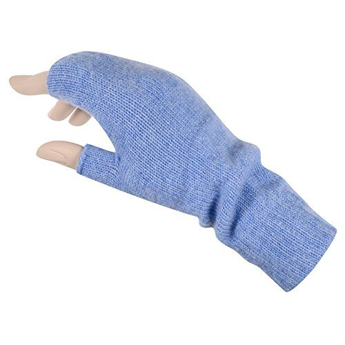 Women's Fingerless Mitts Pure Cashmere Made in Scotland (Light Blue)