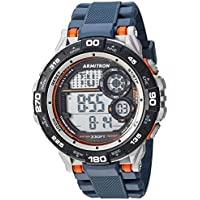 Armitron Sport Men's 40/8441NVY Orange Accented Digital Chronograph Navy Blue Resin Strap Watch