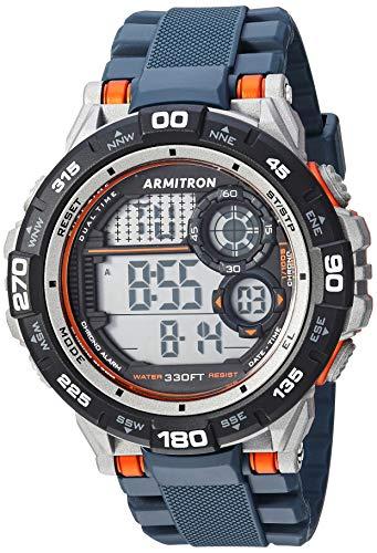 Armitron Sport Men's 40/8441NVY Orange Accented Digital Chronograph Navy Blue Resin Strap Watch