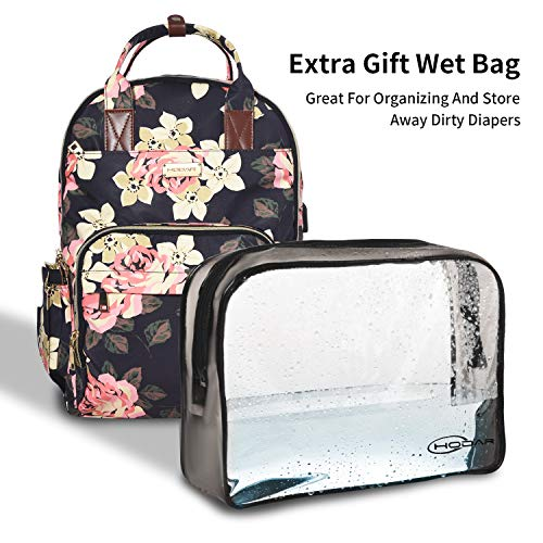 Diaper Bag Backpack-Large Capacity Baby Nappy Changing Bag-Multi-Function Mommy Floral Bags for Dad/Girl/Women-with Large Insulated Pocket and Extra Wet Cloth Pouch