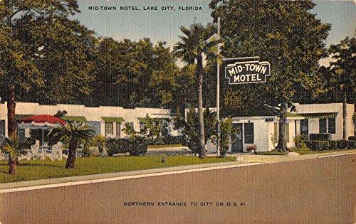 Lake City Florida Mid Town Motel Street View Antique Postcard K37583