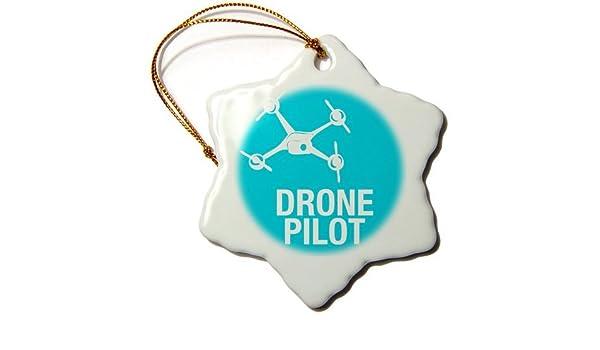 Dron Azul con Copo de Nieve UAV Pilot, Ornamento, Porcelana, 3 ...