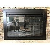 Fireplace Glass Door Set, Black