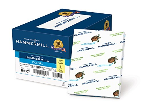 Hammermill Paper, Colors Canary, 24lb, 8.5 x 11, Letter, 5000 Sheets / 10 Ream Case (104307C), Made In The USA