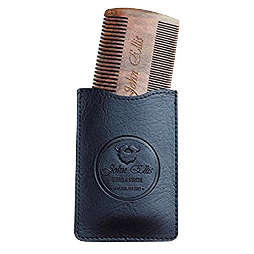 John Ellis Beard & Stache (JEBS) Natural Sandalwood Fine and Medium-Toothed Stache and Beard Comb with Leather Pouch