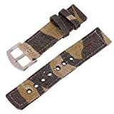 24mm Yellow Camouflage Canvas Watch Strap for Men and Women 2 Piece NATO Straps Premium Watch Bands Replacement