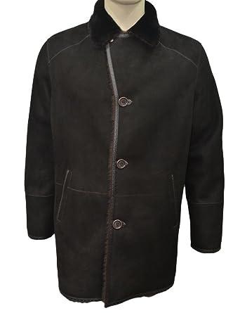 18b96bf4f4de4 Zavelio Men s Genuine Shearling Sheepskin and Leather Classic Winter Coat  Brown Medium
