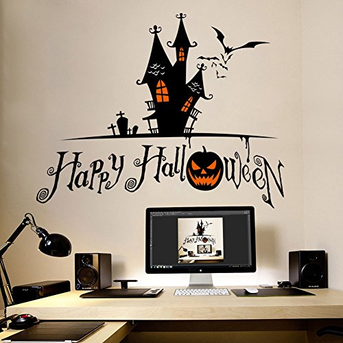 Diy Bodysuit Costume (Smartcoco DIY Creative Haunted House Pumpkin Wall Sticker Vivid Wall Decals Kid Room Living Room Bedroom Halloween Decors 70x56cm)