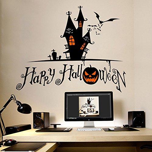 Smartcoco DIY Creative Haunted House Pumpkin Wall Sticker Vivid Wall Decals Kid Room Living Room Bedroom Halloween Decors 70x56cm