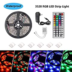 FeatureThis led strip lights kit build in 300 RGB LEDs, can provide super-bright lighting, 44keys IR remote controller can match all your color demand, 16.4ft flexible led light strip, cuttable for every 3 LEDs, easy to fit all shapes decorat...