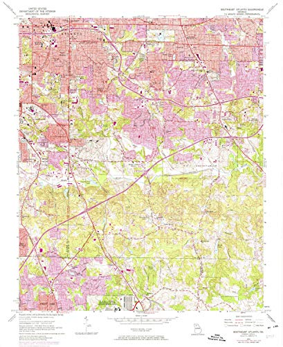 YellowMaps Southeast Atlanta GA topo map, 1:24000 Scale, 7.5 X 7.5 Minute, Historical, 1954, Updated 1975, 27 x 22.1 in - Polypropylene