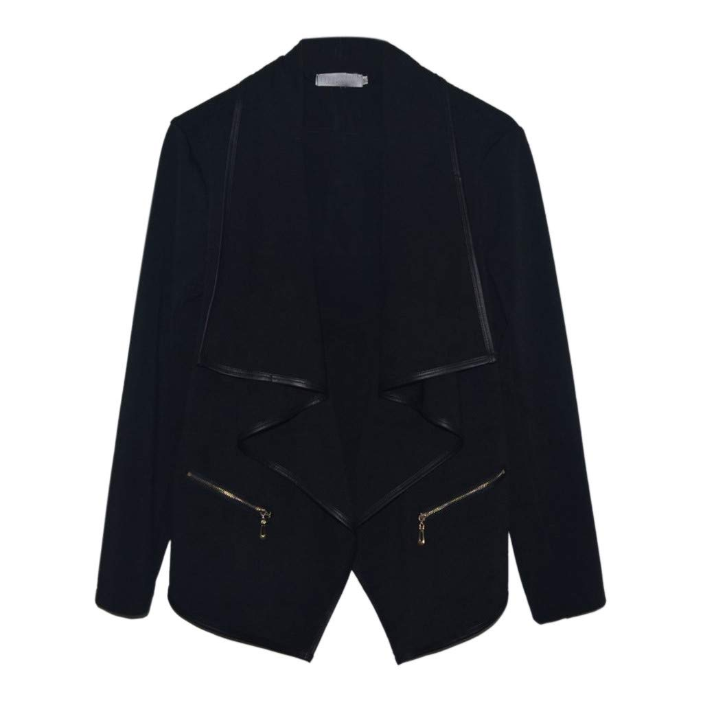 Fashion Women Zipper Irregular Vintage Cardigan Blazer Turn-Down Collar Solid Color Jacket Outwear (S, Black)