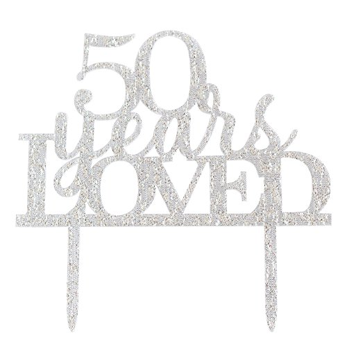 Glitter Silver Acrylic 50 Years Loved Cake Topper Decoration, 50th Birthday Anniversary Party Cupcake Topper Decor (50, silver)
